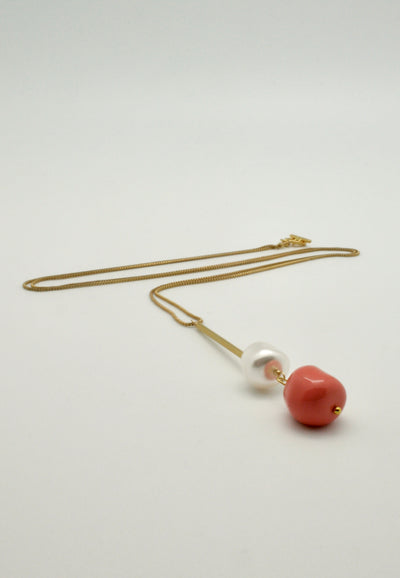 coral and pearl nugget tube pendant on gold box chain