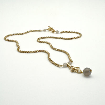 grey agate drop necklace on matte gold chain