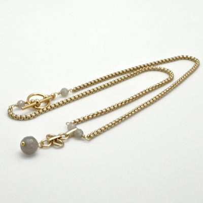 grey agate and matte gold chain necklace