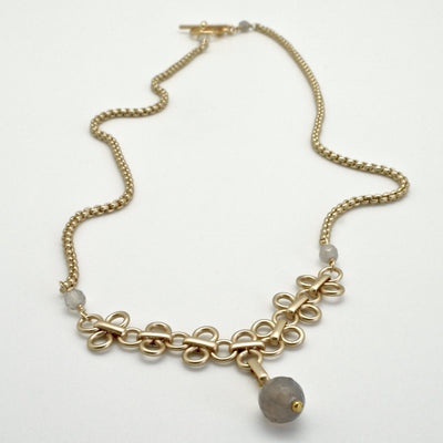 matte gold link necklace with grey agate by vivien walsh