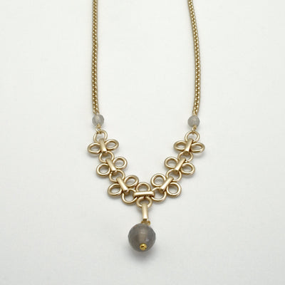 grey agate drop necklace with  matte gold links and chain