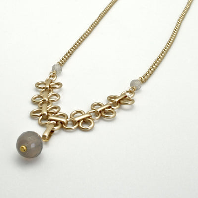 matte gold link line necklace with grey agate stones