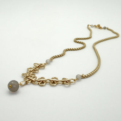 matte gold link line necklace with grey agate semi precious stones