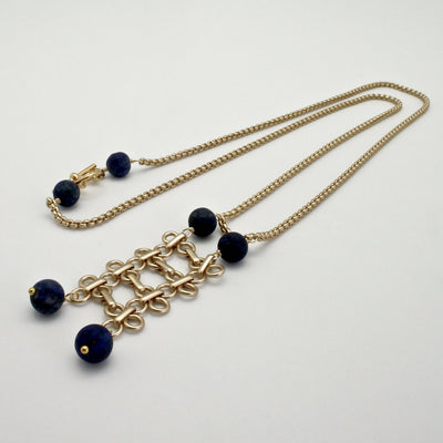 matte gold links long necklace with lapis stones by vivien walsh