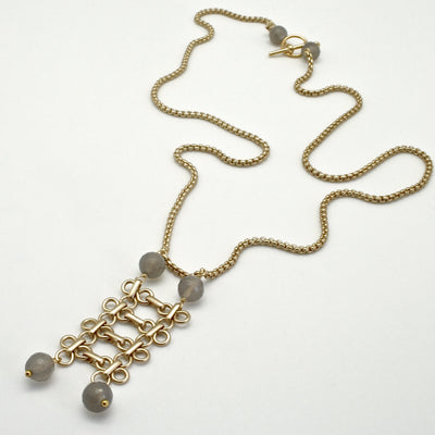 long matte gold links pendant with grey agate semi precious stones