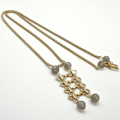 long matte gold links pendant with grey agate by vivien walsh