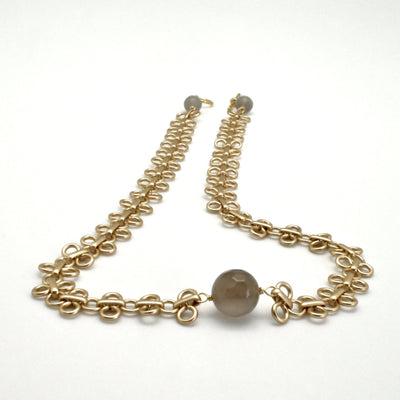matte gold link necklace with grey agate stones by vivien walsh