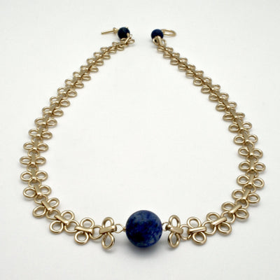 matte gold links chain necklace with matte lapis stones