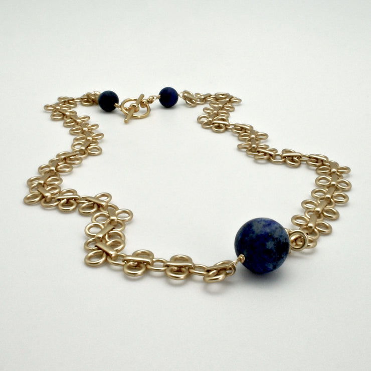 matte gold links collar with matte lapis stones