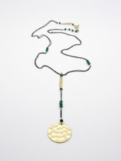matte gold hammered disc pendant with green agate by vivien walsh