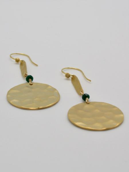matte gold hammered long disc earrings by vivien walsh