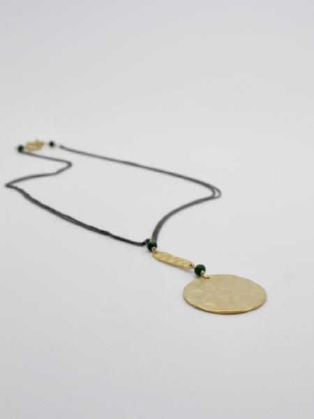 matte gold hammered disc necklace by vivien walsh