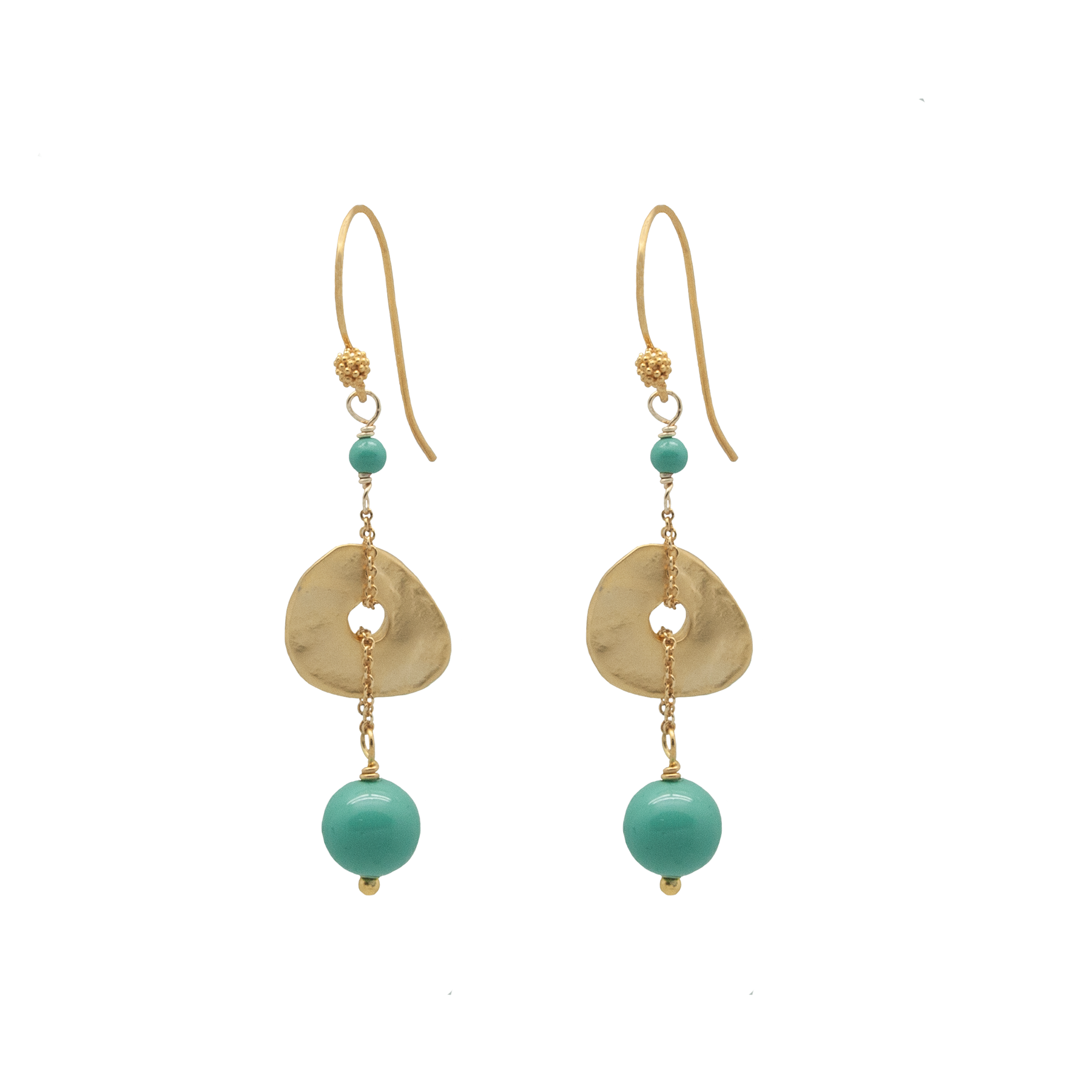 jade disc bead earrings by vivien walsh on white background
