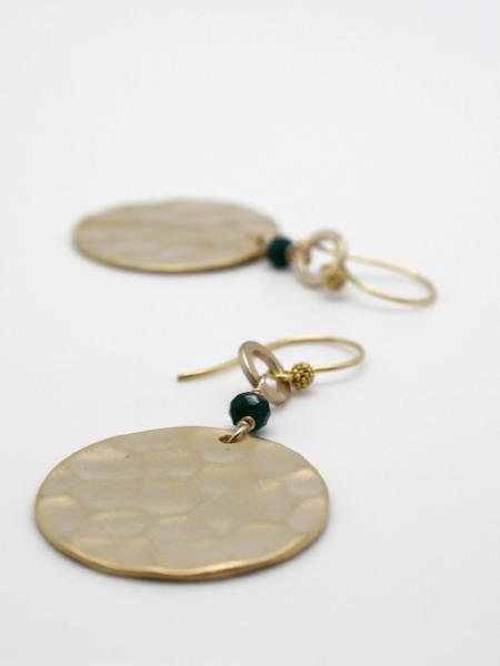 matte gold hammered disc earrings by vivien walsh