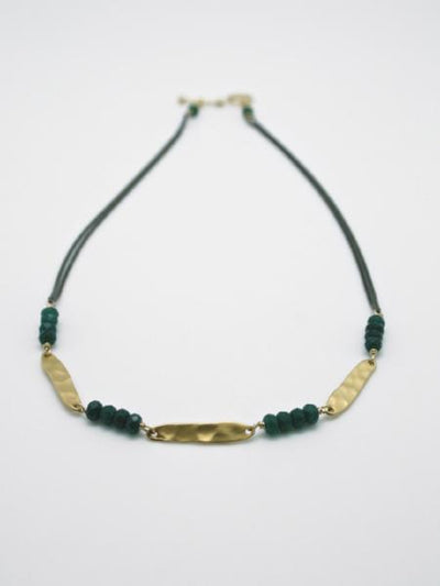 matte gold hammered oval disc collar necklace by vivien walsh