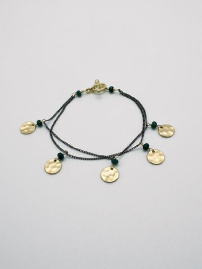 matte gold mini disc charm bracelet by vivien walsh