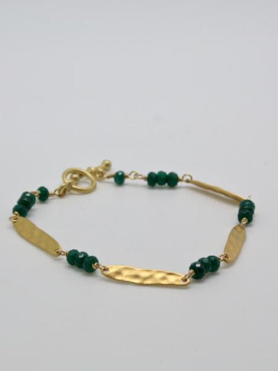 matte gold oblong bar bracelet with emerald green agate stones by vivien walsh