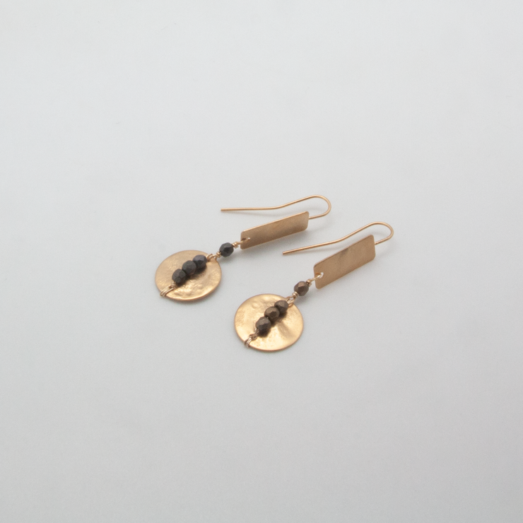 rectangle disc line earrings