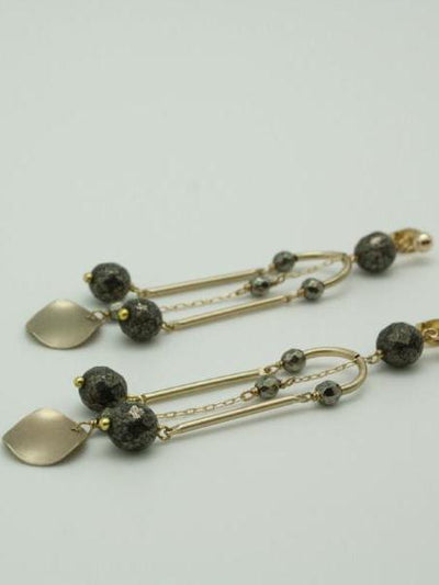 matte gold pillar earrings with pyrite vivien walsh