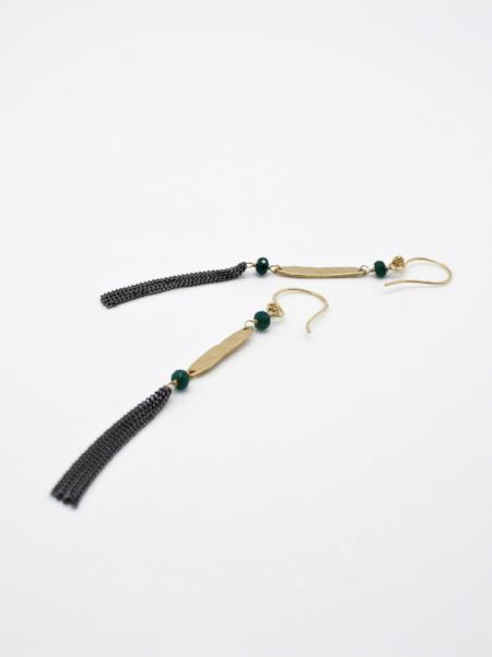 matte gold oblong bar earrings with gunmetal chain by vivien walsh