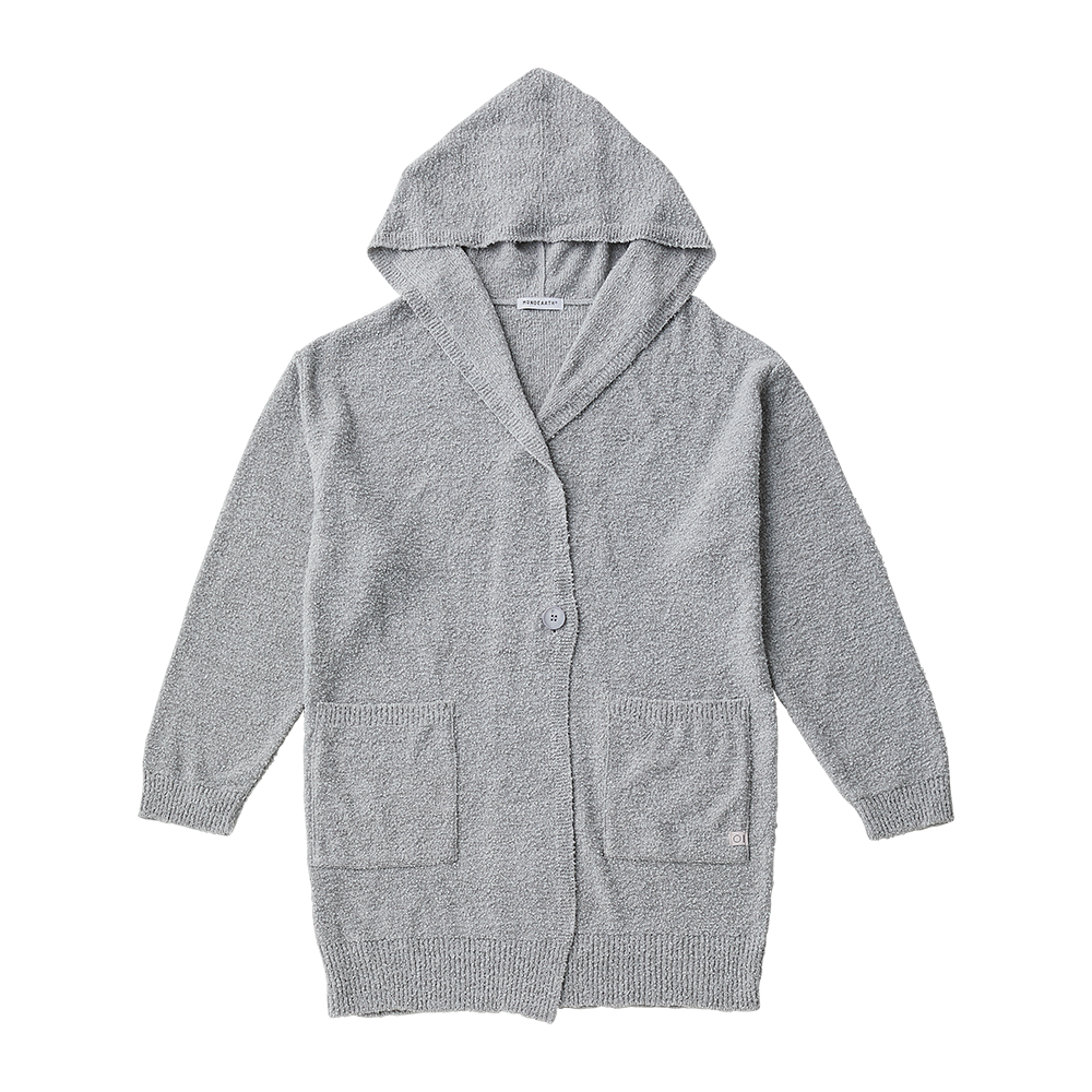 Loop knit long parka cardigan