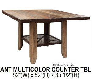 Antique Multicolor Counter Height Table