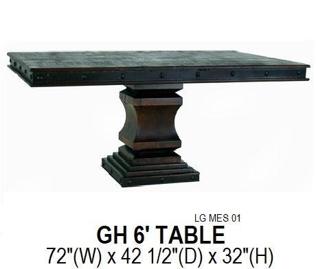 Grand Hacienda 6' Pedestal Table