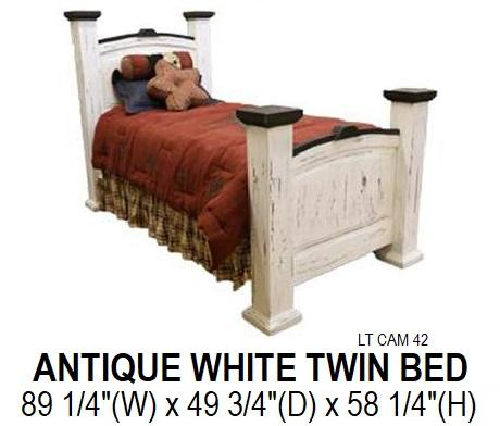 White Distressed Twin Bed