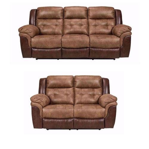 Bonanza Two Tone Reclining Sofa Set