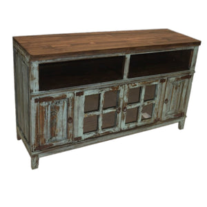 "Turquoise 60"" Window Pane TV Stand"