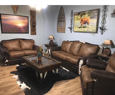 Palance Cowhide Sofa Set