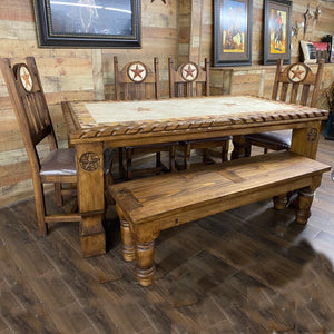 6' Rope Star Marble Dining Table Set