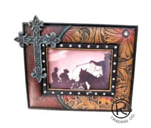 Floral Cross Picture Frame