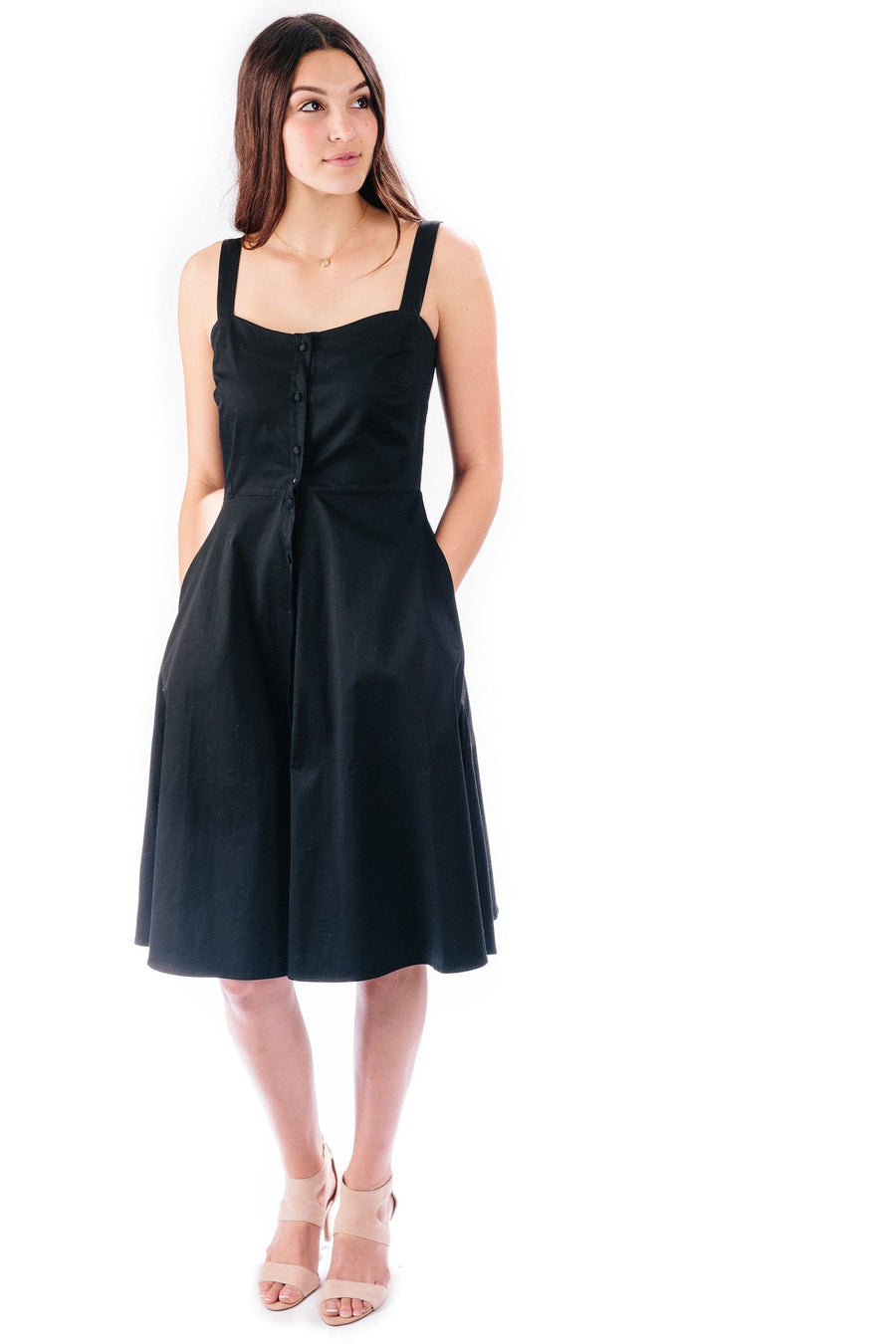 button-down midi dress in ebony
