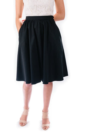 midi skirt in ebony
