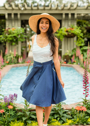 button-down skirt in navy