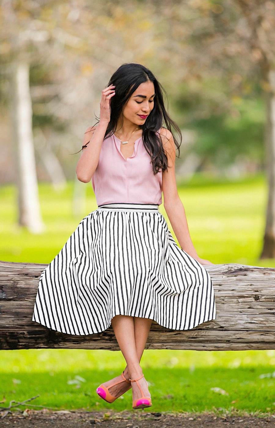 midi skirt in stripes