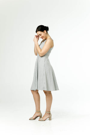 the venice dress in grey/white stripe