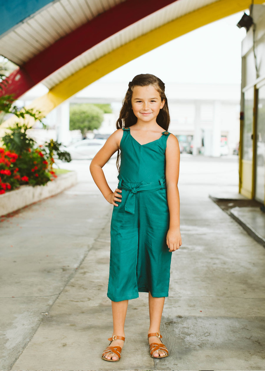 kid's jumpsuit in deep jade