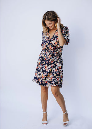 Wrap Dress/Cover-up in Navy Fleur