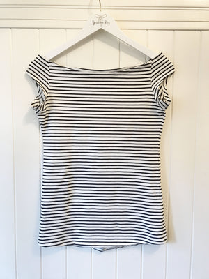 the positano tee in ivory/black stripe