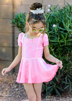 princess swim dress in pink