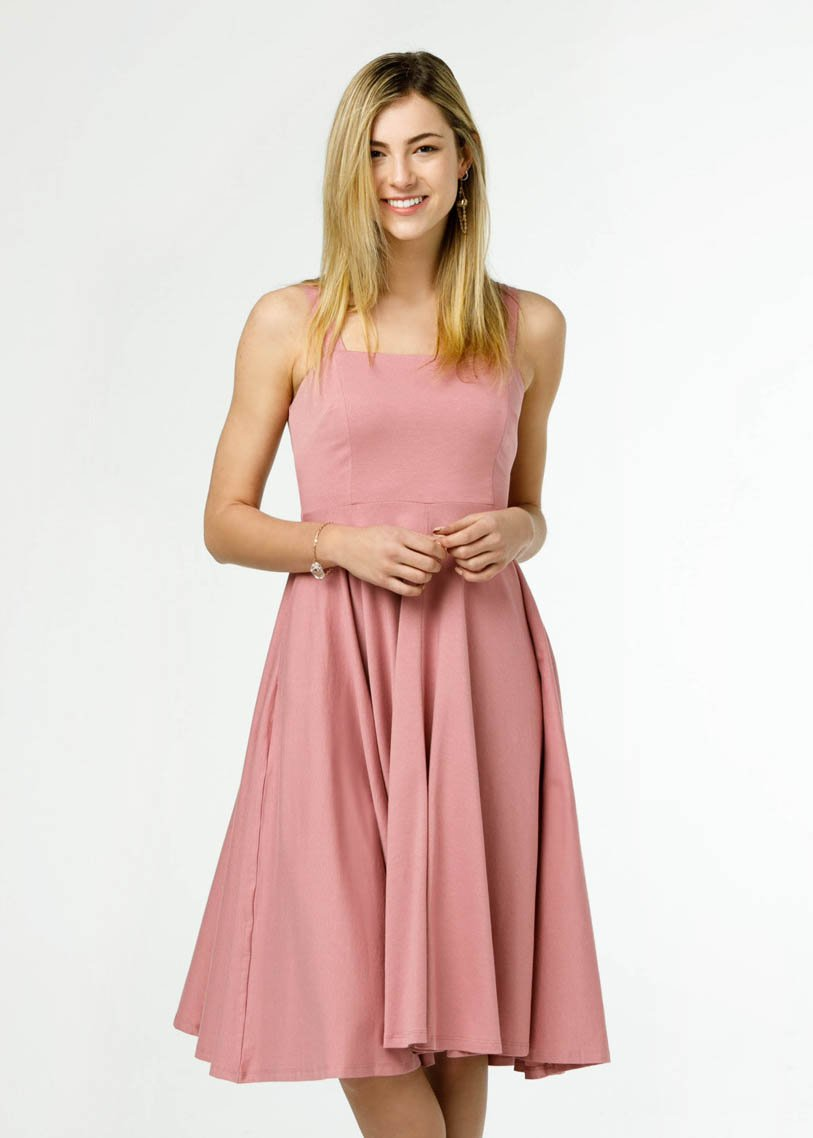 the rome dress in pink clove