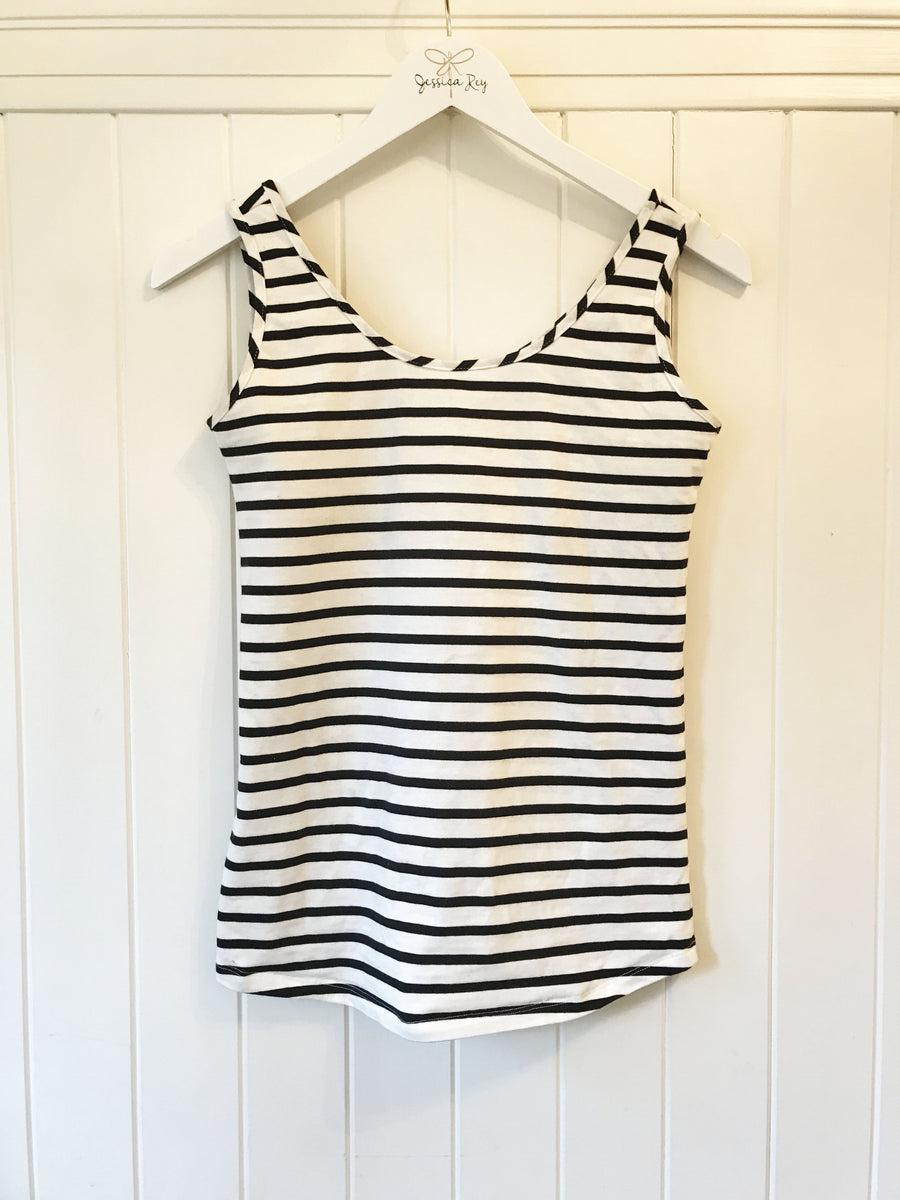 the sorrento tank in black/white stripe