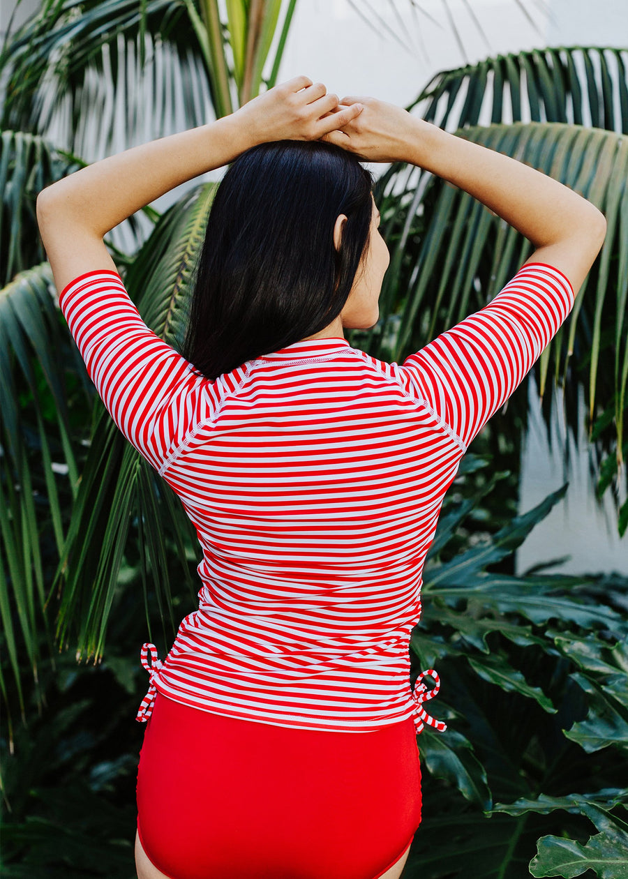 veronica swim tee in red/white stripe