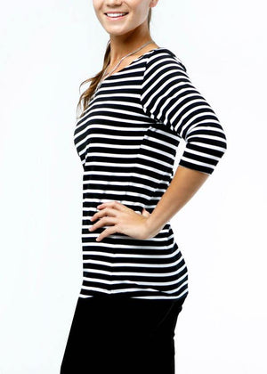 the bellagio tee in black/white stripe