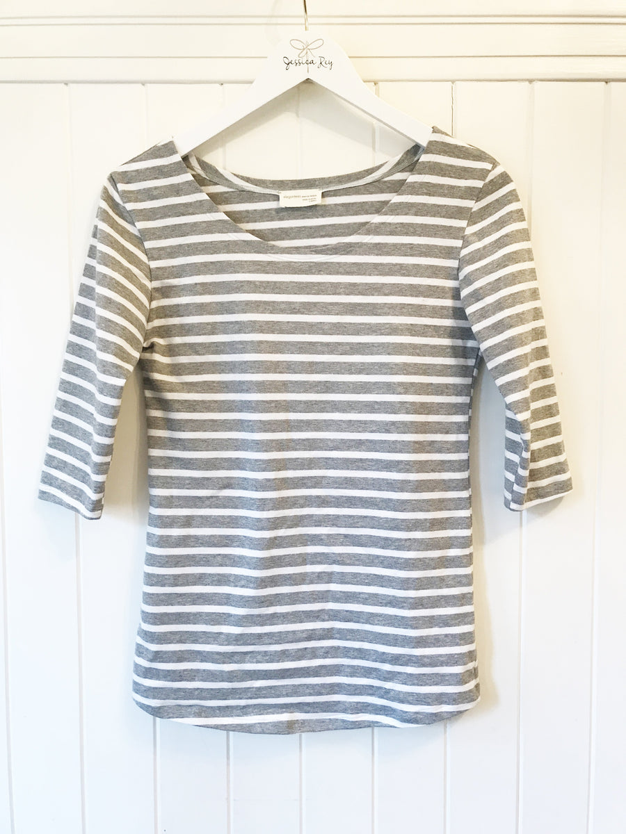 the bellagio tee in grey/white stripe