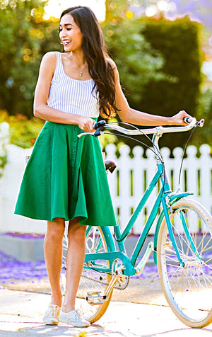 button down skirt in kelly