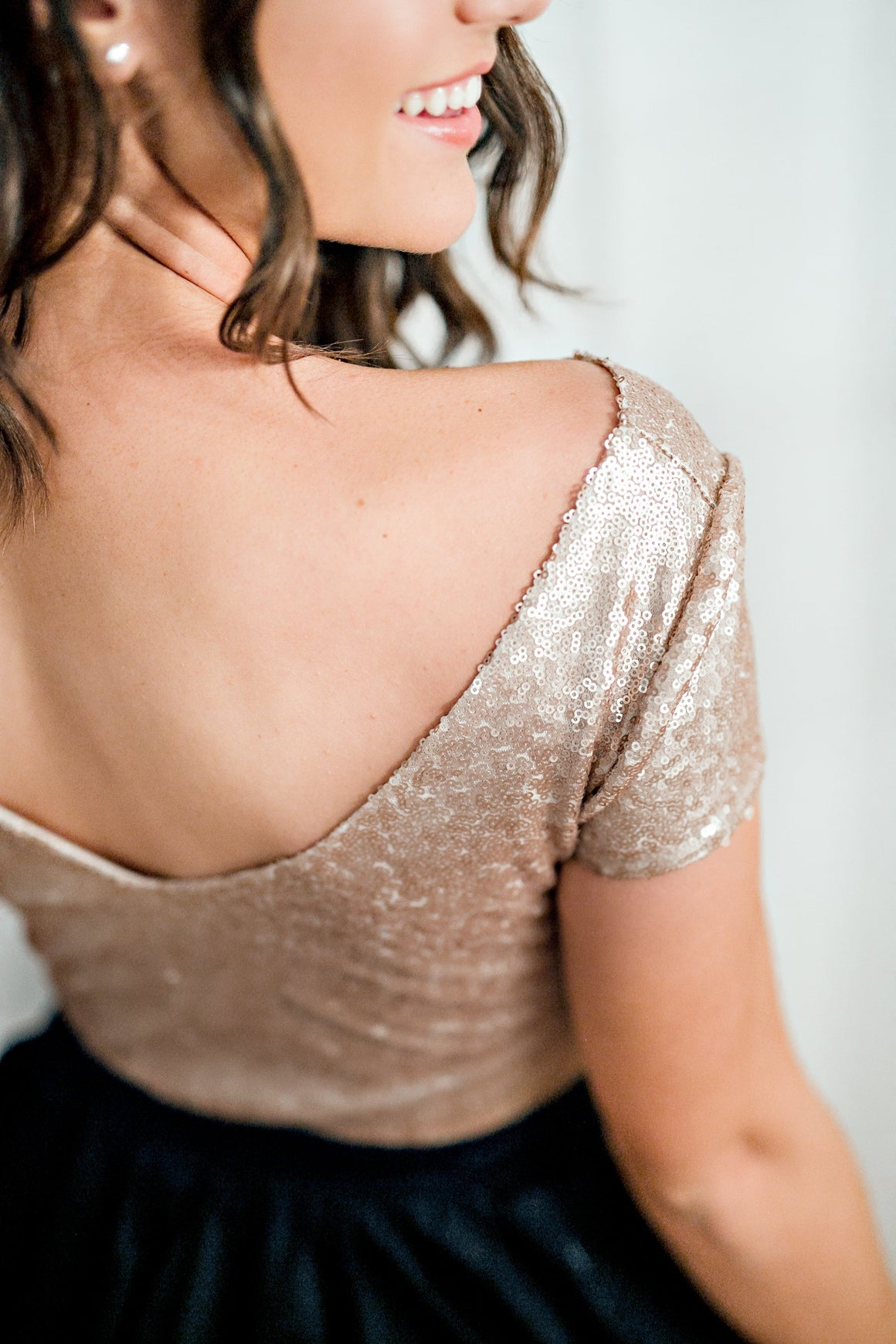 sequin top in champagne