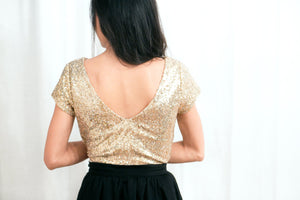 sequin top in gold